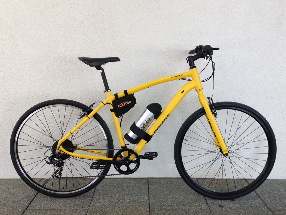 Yellow Orbea Urban 20 with Solarbike conversion